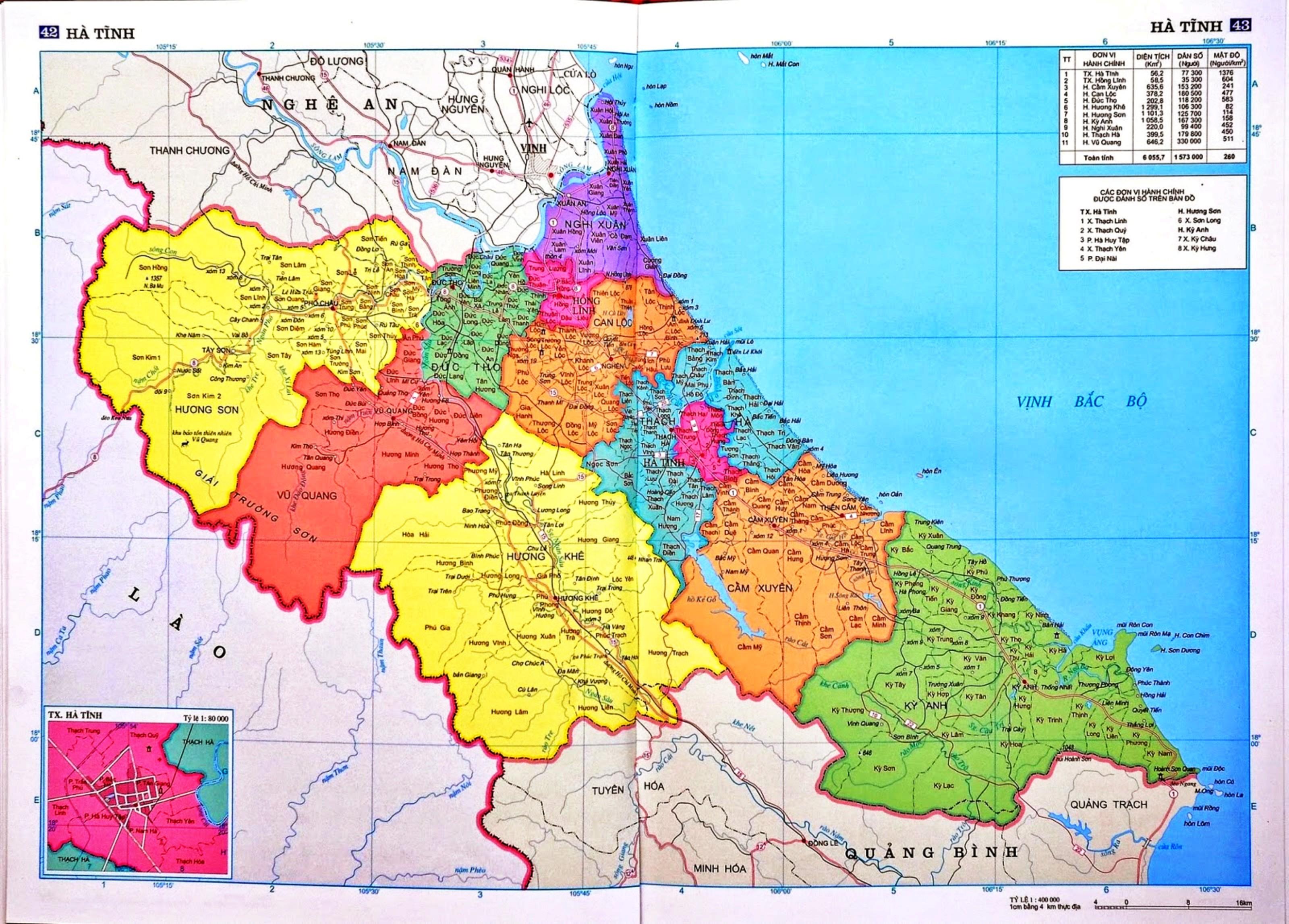 Bản đồ tỉnh Hà Tĩnh các xã, huỵện, thành phố khổ lớn