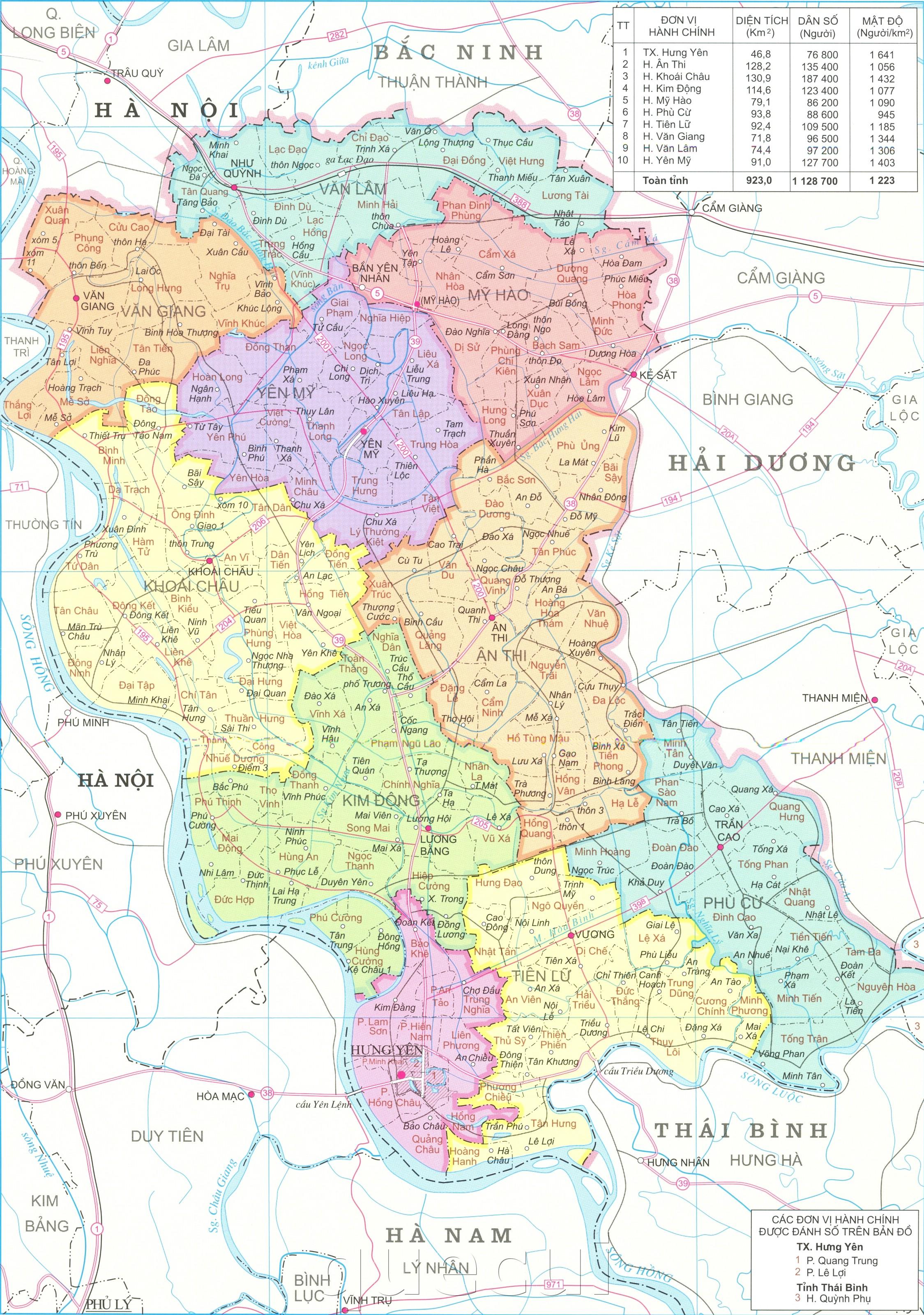 Bản đồ hành chính tỉnh Hưng Yên khổ lớn năm 2021