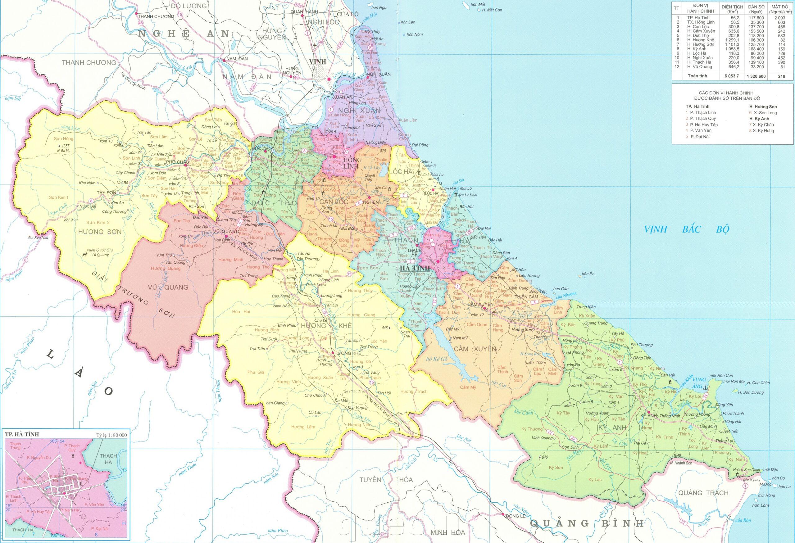 Bản đồ hành chính các xã, huyện, thành phố trên địa bàn tỉnh Hà Tĩnh