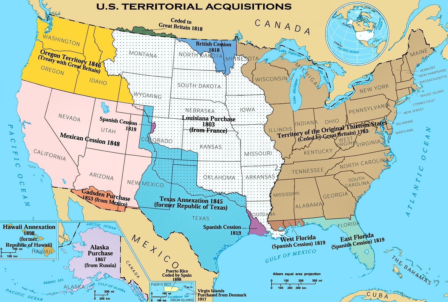 Bản đồ các lãnh thổ đoạt được hay mua lại theo ngày.