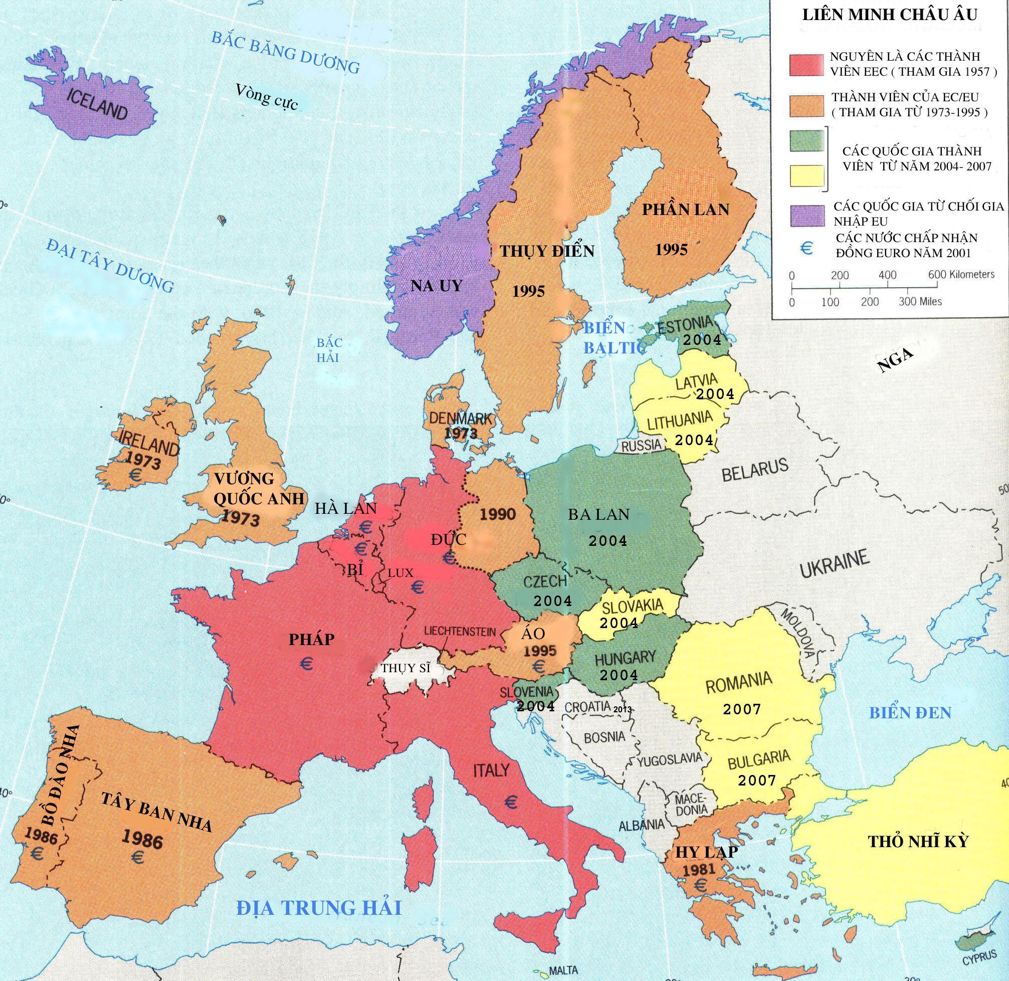 Bản đồ các nước ở Châu Âu bằng tiếng việt