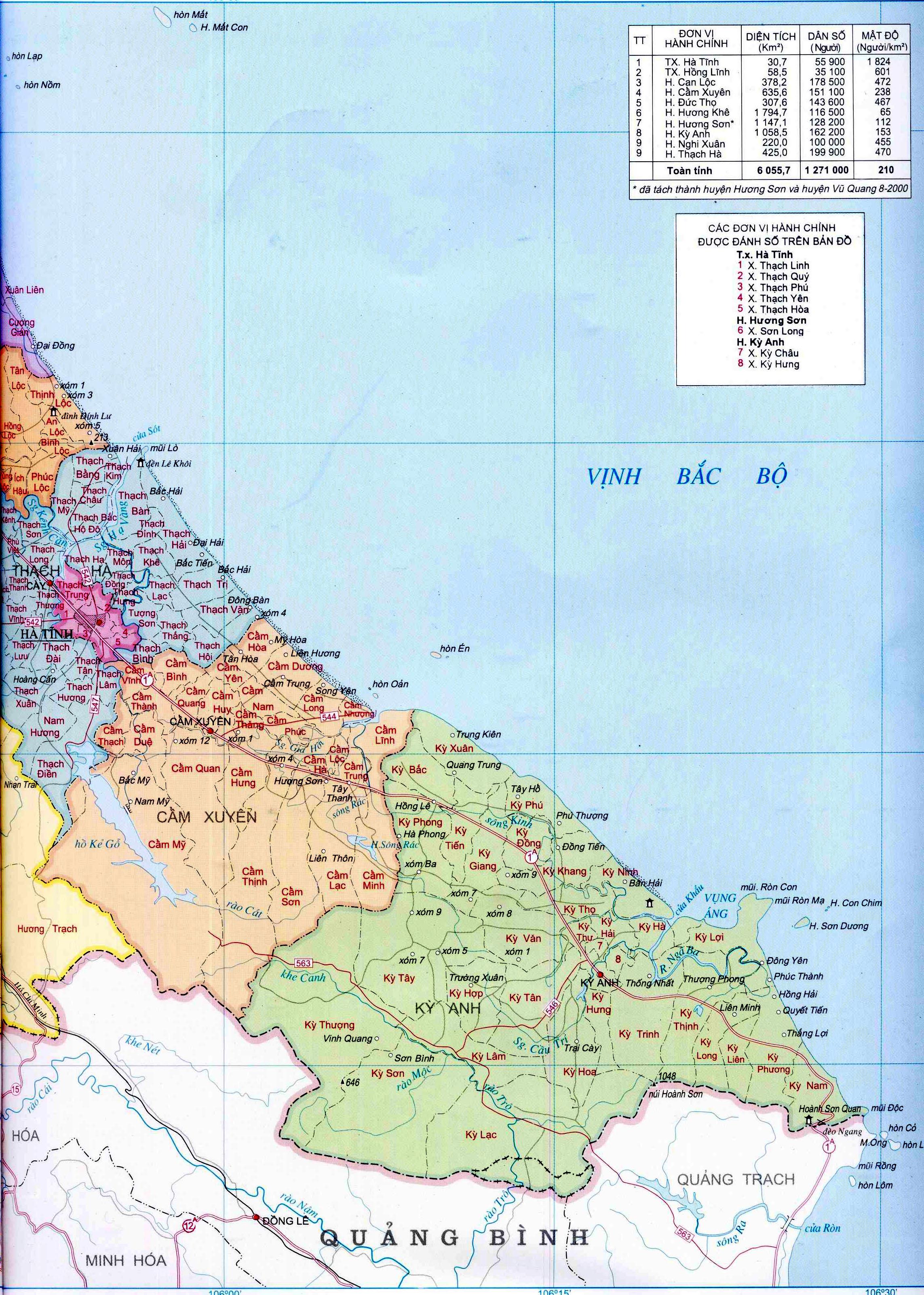 Bản đồ hành chính tỉnh Hà Tĩnh (Trang 1)
