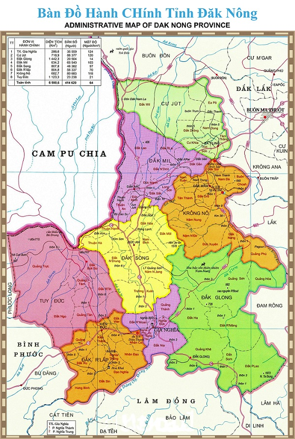Bản đồ Hành Chính tỉnh Đắk Nông khổ lớn năm 2021