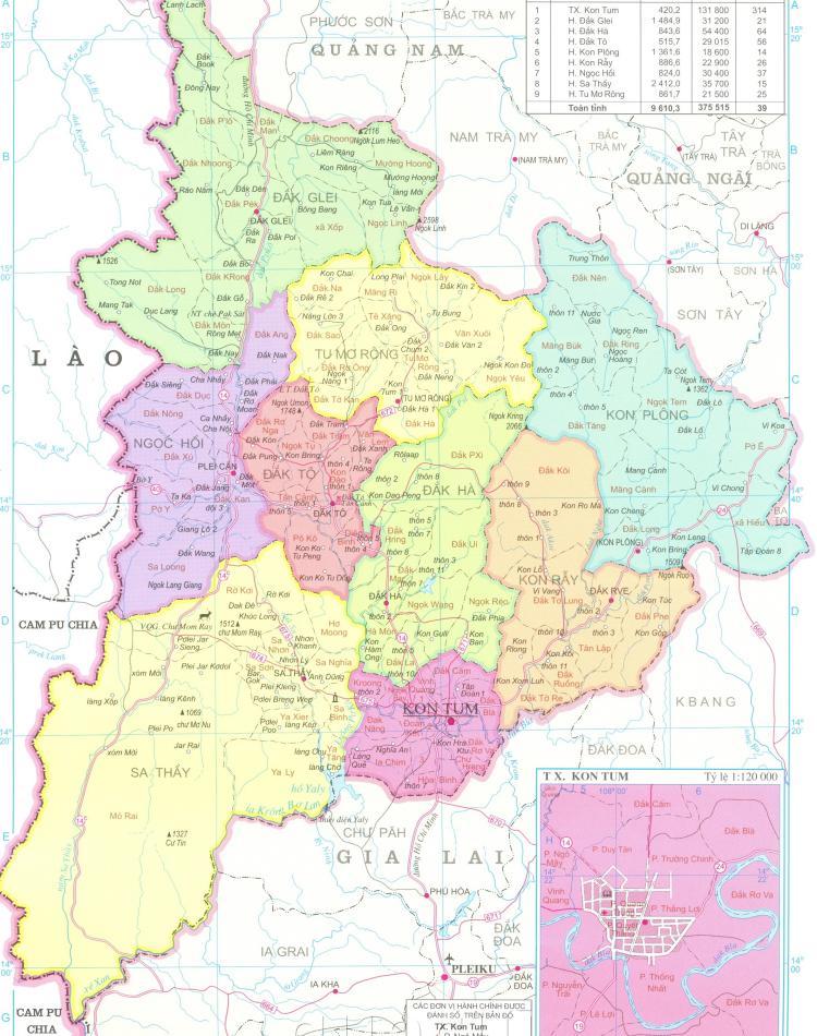 Bản đồ hành chính tỉnh Kon Tum khổ lớn năm 2021