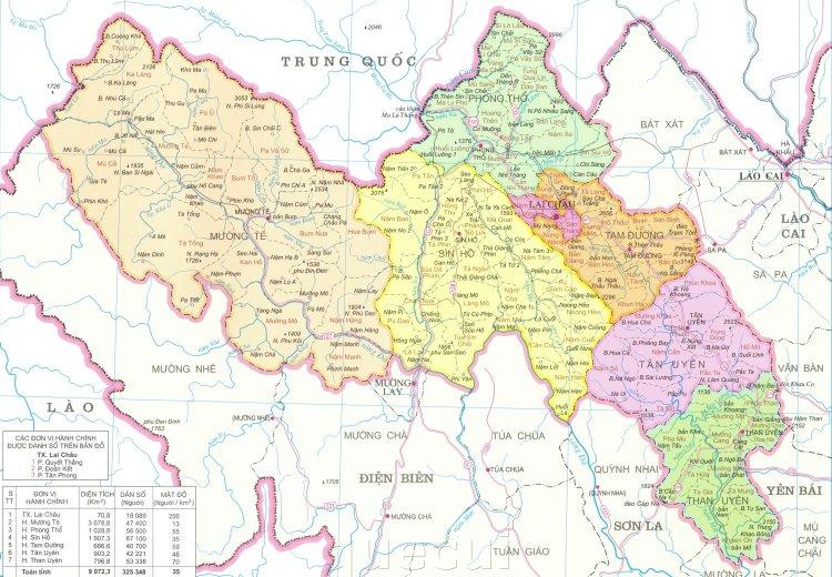 Bản đồ hành chính tỉnh Lai Châu năm 2021