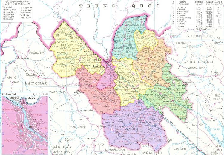 Bản đồ hành chính tỉnh Lào Cai năm 2021