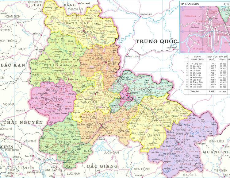 Bản đồ các xã, huyện, thành phố của tỉnh Lạng Sơn năm 2021