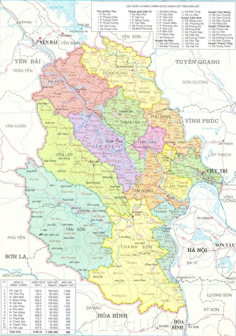 Bản đồ hành chính tỉnh Phú Thọ năm 2021