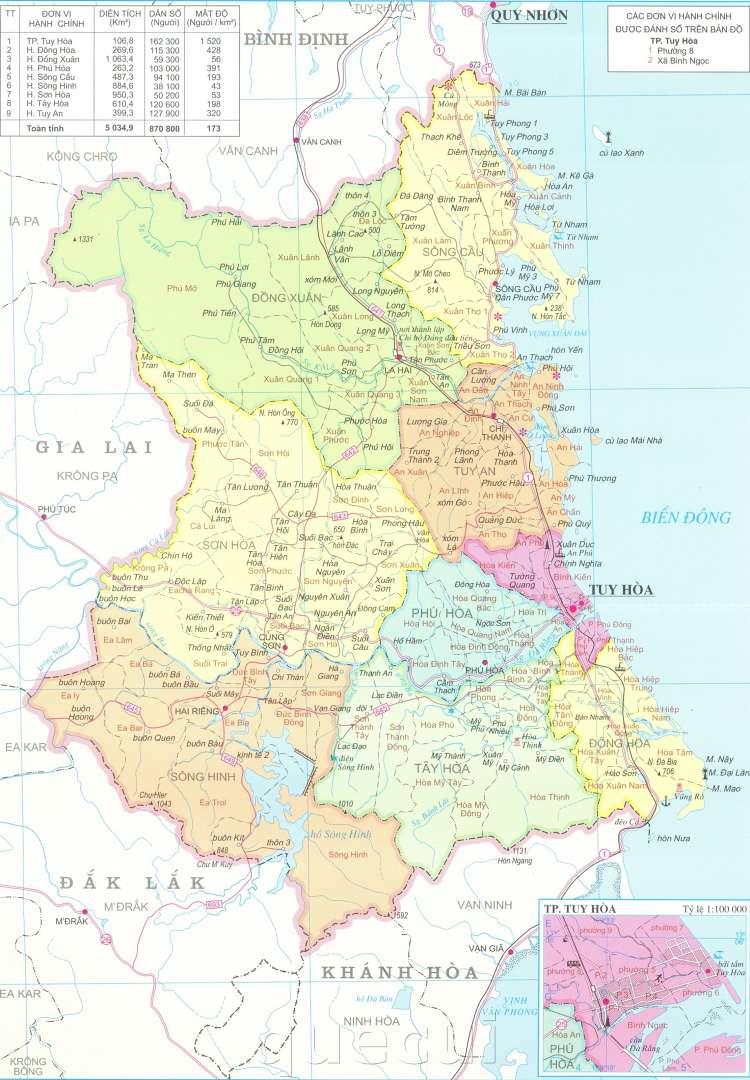 Bản đồ hành chính tỉnh Phú Yên năm 2021