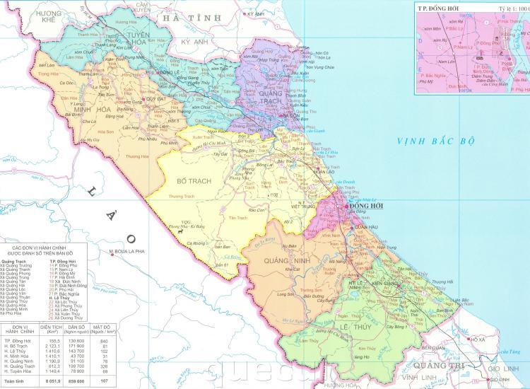 Bản đồ hành chính tỉnh Quảng Bình năm 2021