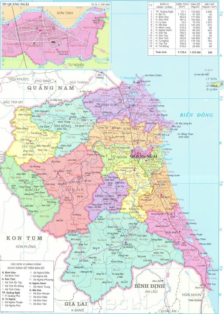 Bản đồ hành chính tỉnh Quảng Ngãi năm 2021