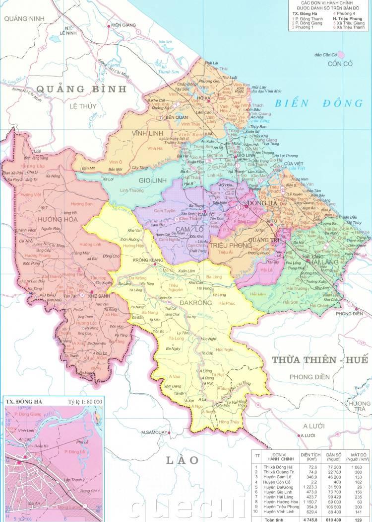Bản đồ hành chính tỉnh Quảng Trị năm 2021