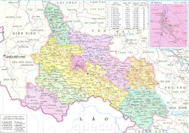 Bản đồ hành chính tỉnh Sơn Lan năm 2021
