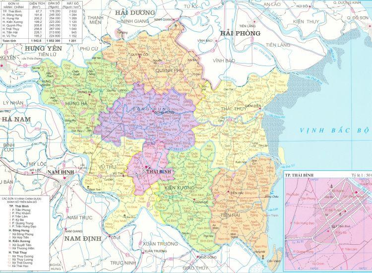 Bản đồ hành chính tỉnh Thái Bình năm 2021