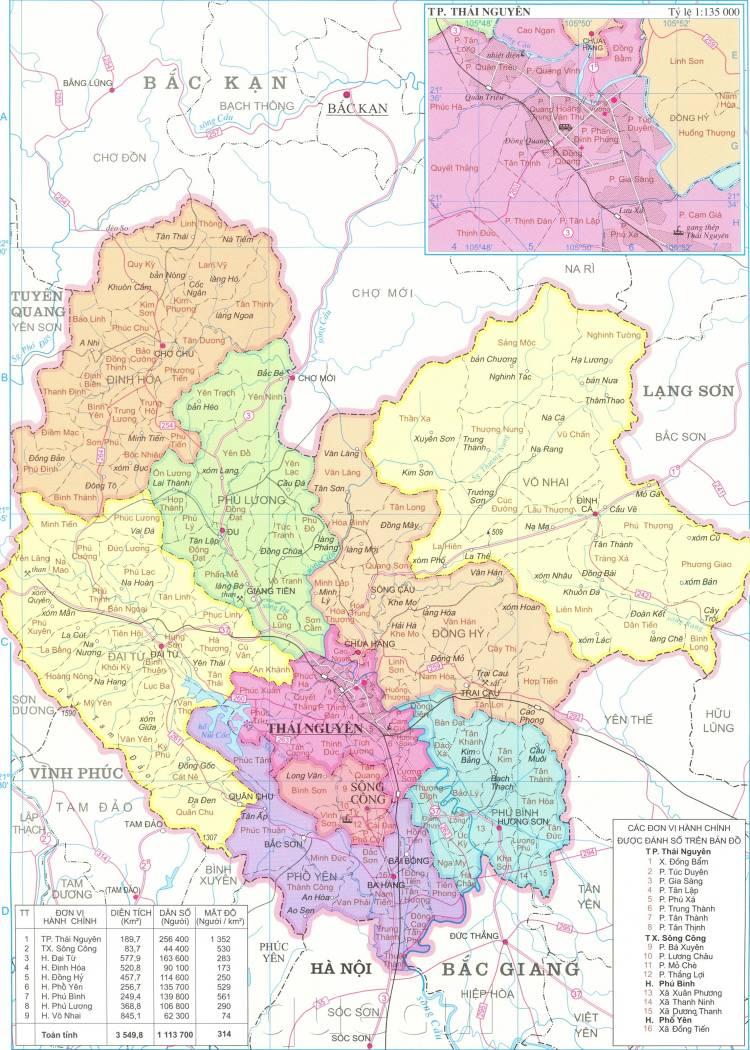 Bản đồ hành chính tỉnh Thái Nguyên năm 2021