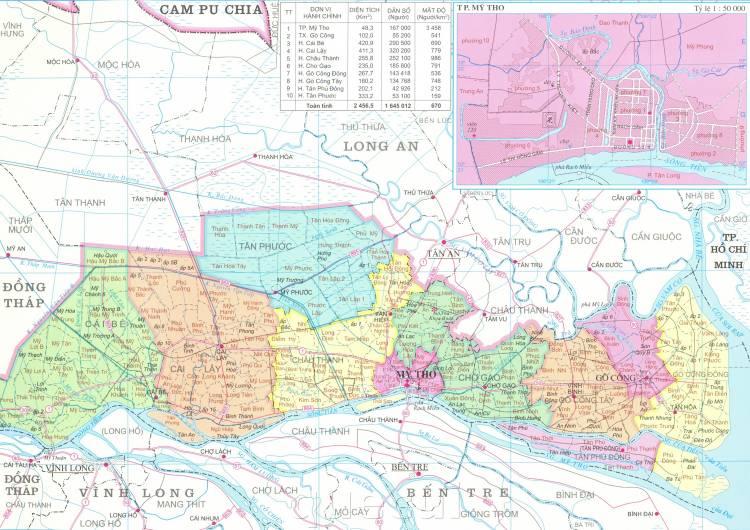 Bản đồ hành chínhtỉnh Tiền Giang khổ lớn