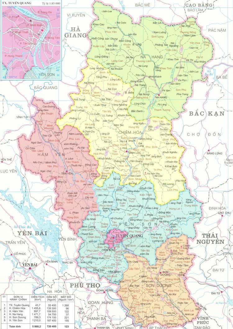 Bản đồ hành chính tỉnh Tuyên Quang năm 2021