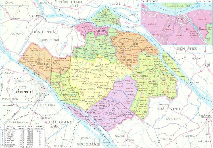 Bản đồ hành chính tỉnh Vĩnh Long khổ lớn