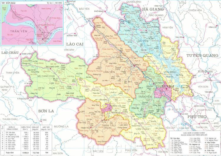 Bản đồ hành chính tỉnh Yên Bái năm 2021