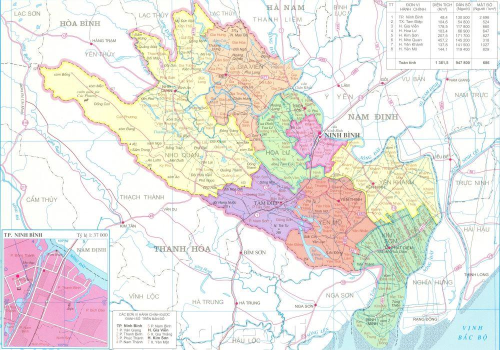 Bản đồ hành chính tỉnh Ninh Bình năm 2021