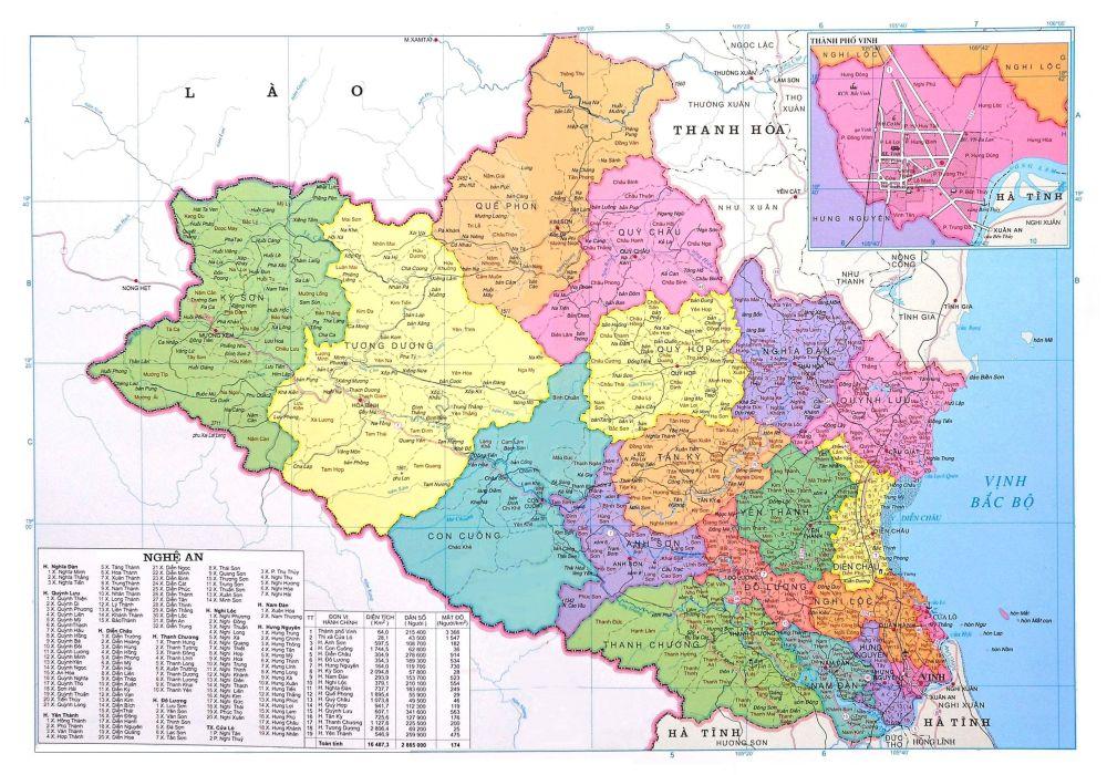 Bản đồ hành chính tỉnh Nghệ An năm 2021