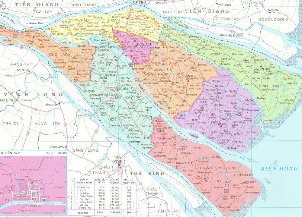 Bản đồ hành chính tỉnh Bến Tre khổ lớn