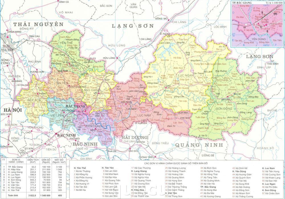 Bản đồ hành chính tỉnh Bắc Giang năm 2021