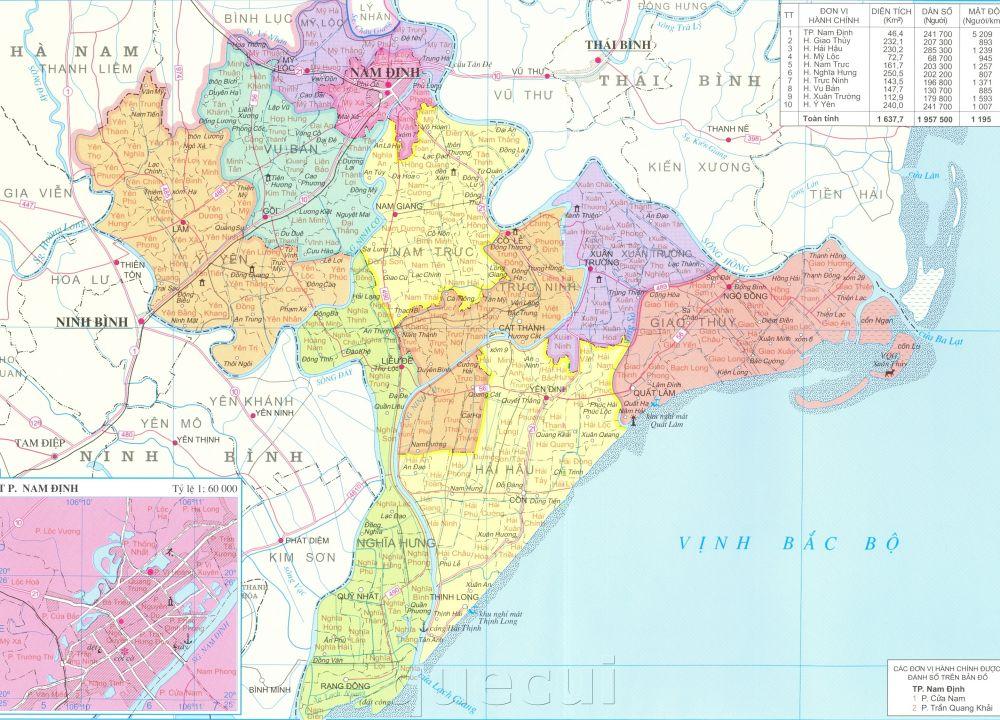 Bản đồ hành chính tỉnh Nam Định năm 2021