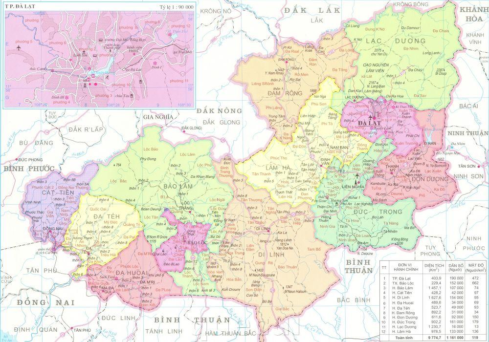 Bản đồ hành chính tỉnh Lâm Đồng khổ lớn năm 2021