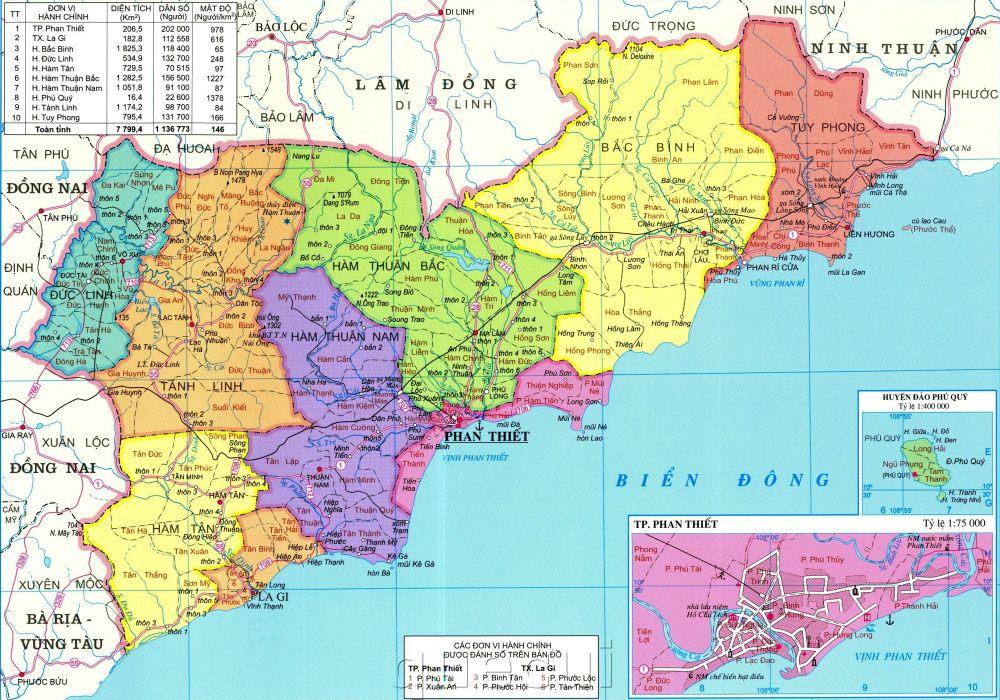 Bản đồ hành chính tỉnh Bình Thuận năm 2021