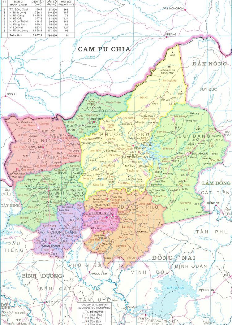 Bản đồ hành chính tỉnh Bình Phước khổ lớn