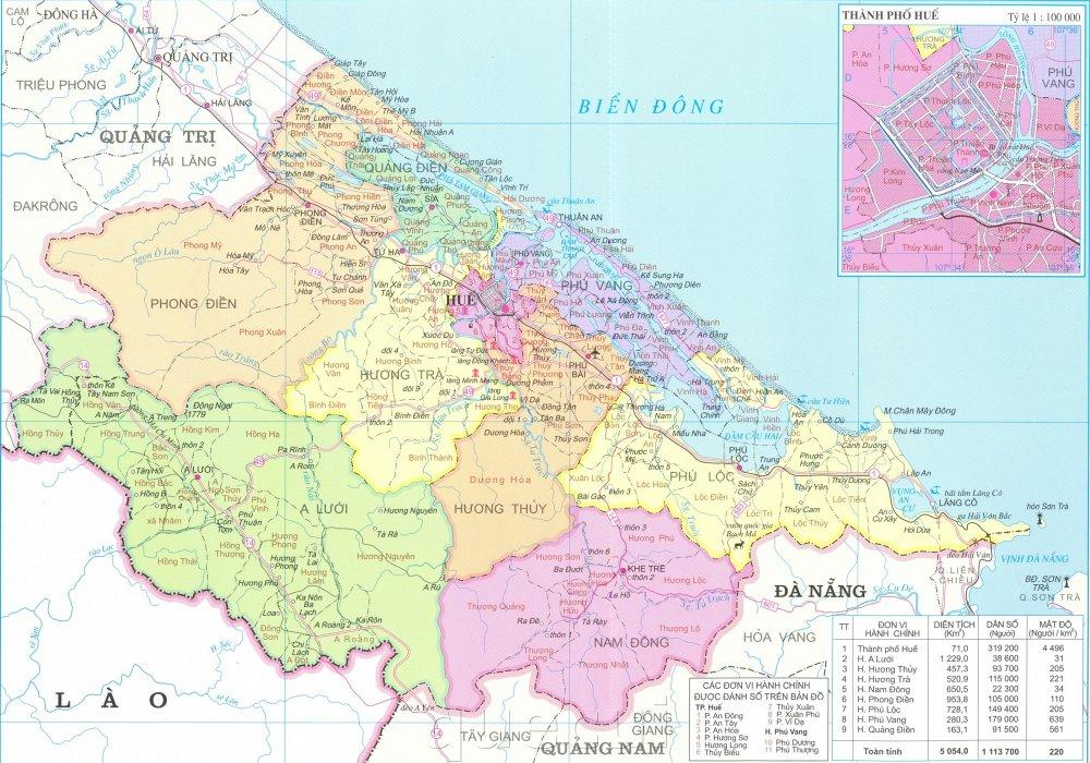 Bản đồ hành chính tỉnh Thừa Thiên Huế năm 2021