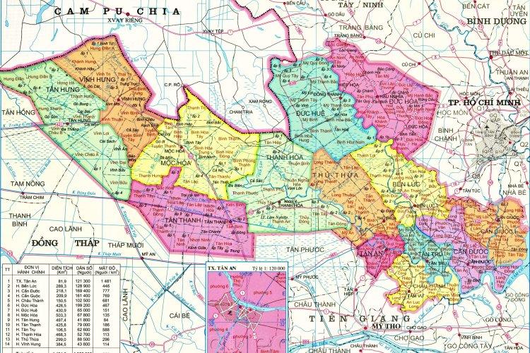 Bản đồ hành chính tỉnh Long An khổ lớn