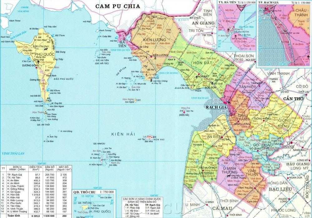 Bản đồ hành chính tỉnh Kiên Giang khổ lớn