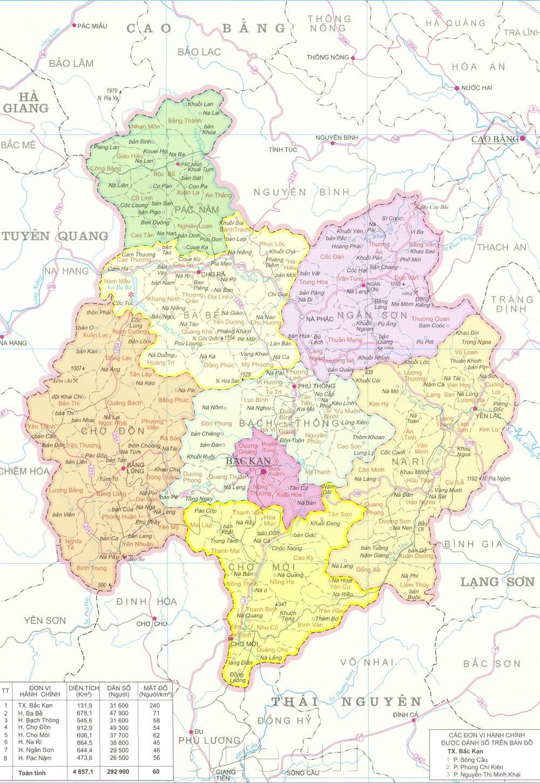 Bản đồ hành chính tỉnh Bắc Kạn năm 2021