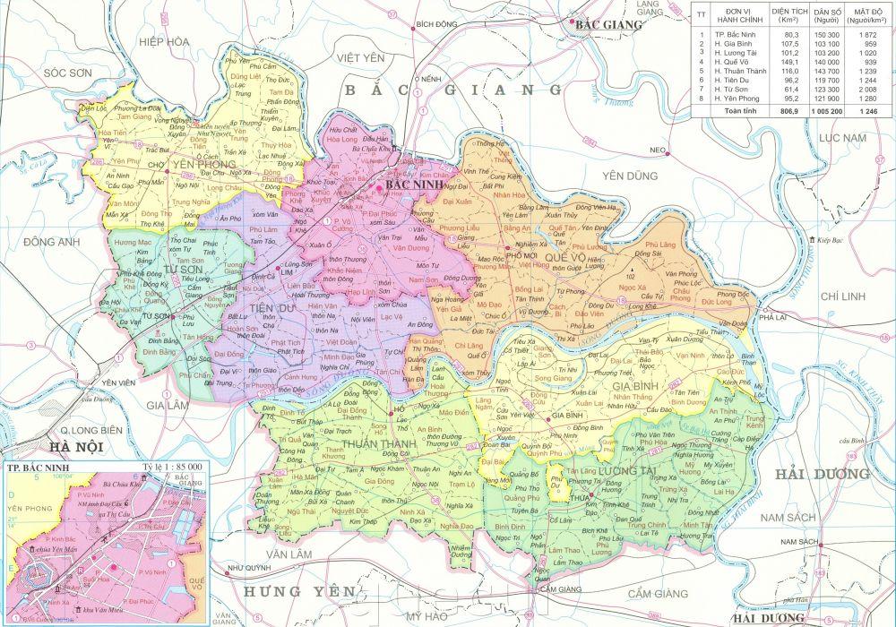 Bản đồ hành chính các xã, huyện, thành phố trên tỉnh Bắc Ninh năm 2021