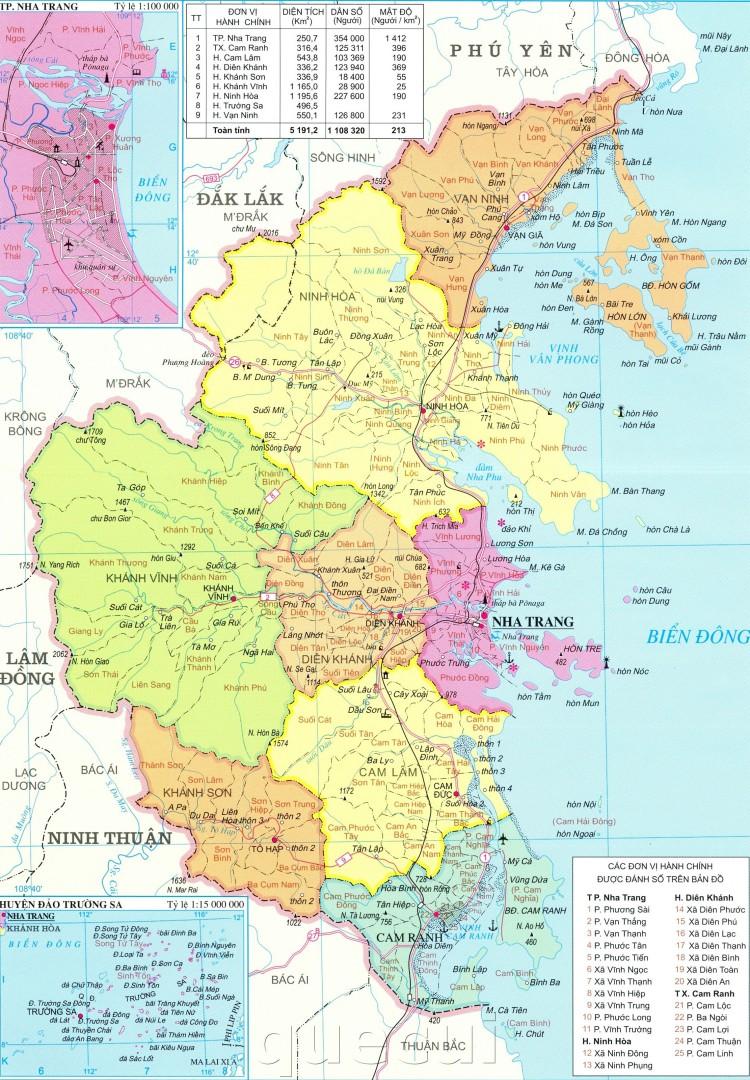 Bản đồ hành chính tỉnh Khánh Hoà khổ lớn năm 2021