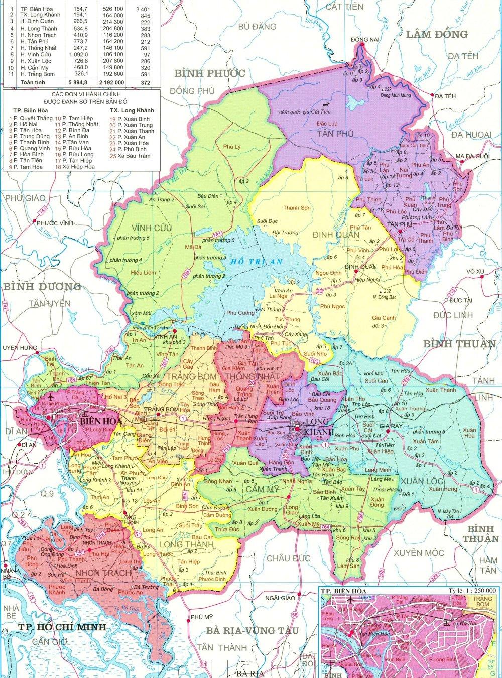 Bản đồ hành chính tỉnh Đồng Nai khổ lớn