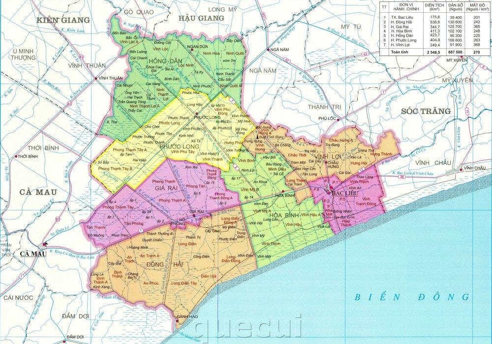Bản đồ hành chính tỉnh Bạc Liệu khổ lớn