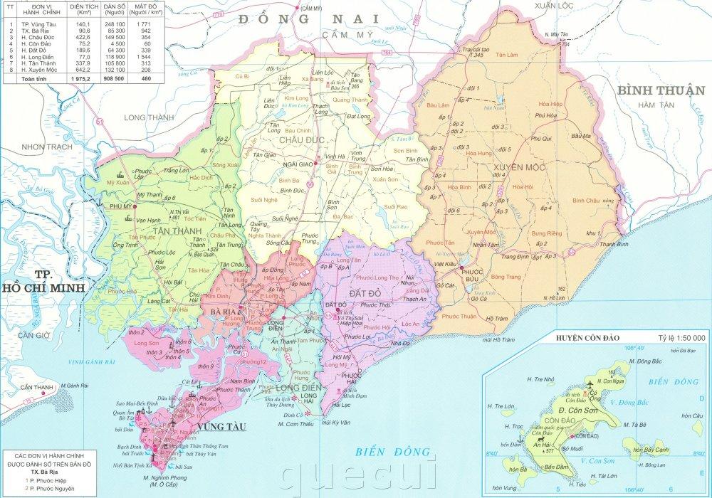 Bản đồ hành chính tỉnh Bà Rịa - Vũng Tàu khổ lớn