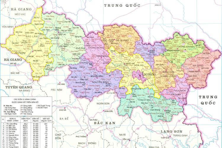Bản đồ tỉnh Cao Bằng năm 2021