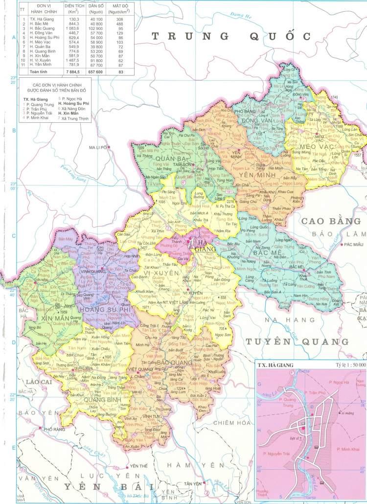 Bản đồ hành chính tỉnh Hà Giang năm 2021