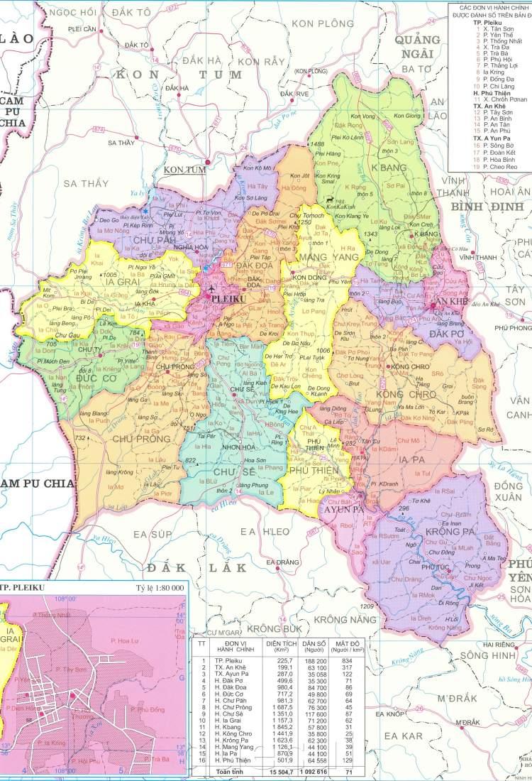 Bản đồ hành chỉnh tỉnh Gia Lai năm 2021