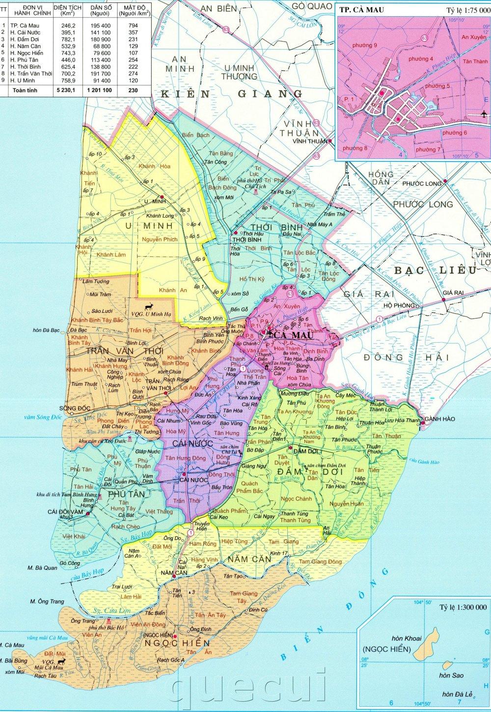 Bản đồ hành chính tỉnh Cà Mau khổ lớn