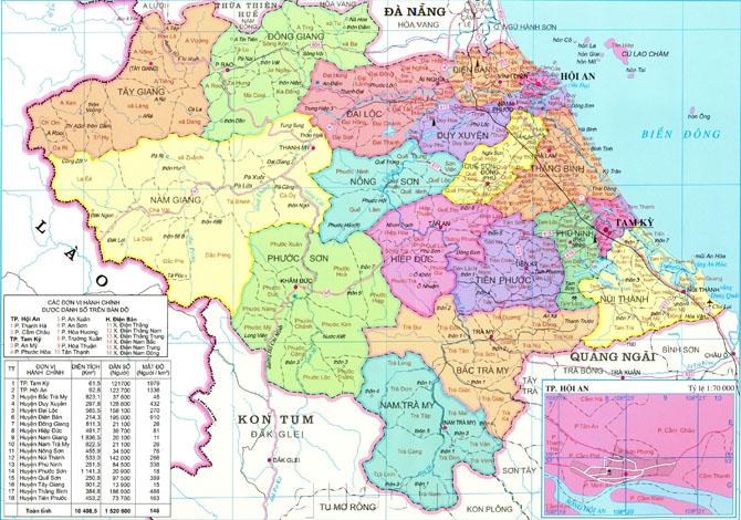 Bản đồ hành chính tỉnh Quang Nam khổ lớn năm 2021