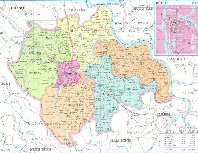 Bản đồ hành chính tỉnh Hà Nam năm 2021
