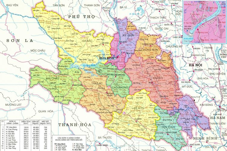 Bản đồ hành chính tỉnh Hoà Bình