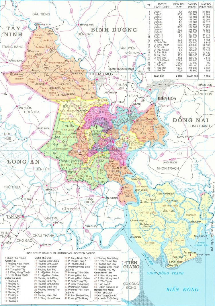 Bản đồ hành chính Thành phố Hồ Chí Minh khổ lớn