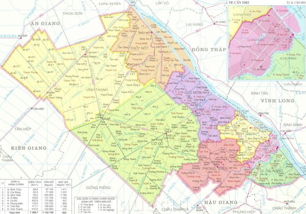 Bản đồ hành chính thành phố Cần Thơ khổ lớn
