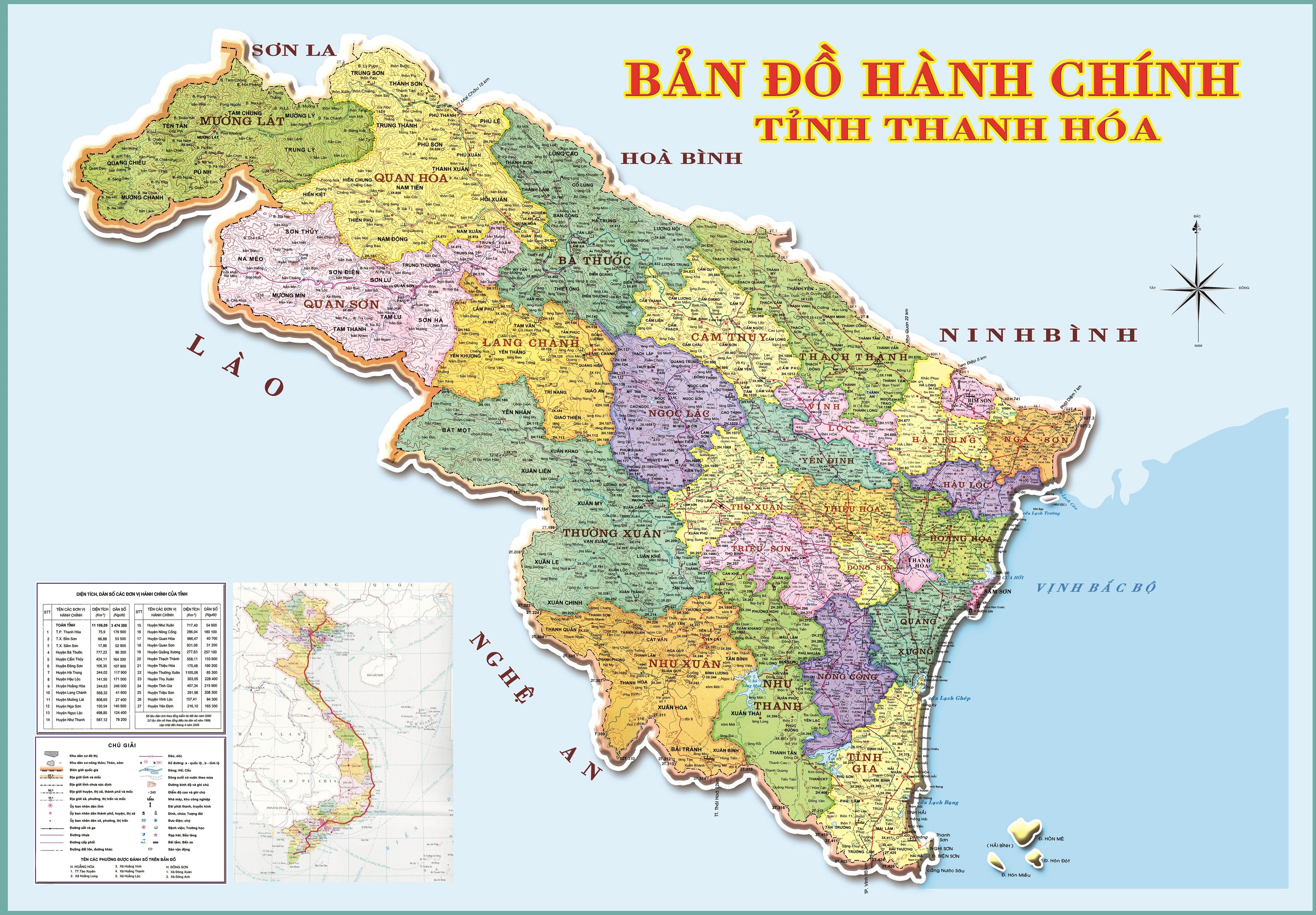 Bản đồ hành chính các xã tại tỉnh Thanh Hoá